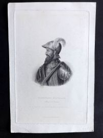 Bentley 1850 Antique Portrait Print. Ferdinand d'Avalos, Marquis of Pescara
